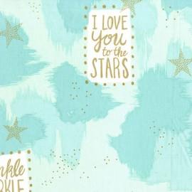 Tissu You are magic - turquoise metallic x 60cm