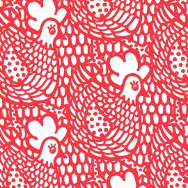 Tissu toile de coton Chicken Flower - rouge x 10cm