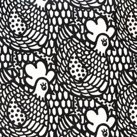 Tissu toile de coton Chicken Flower - noir x 30cm