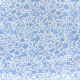 Tissu double gaze de coton Shadow Garden - blue x 10 cm