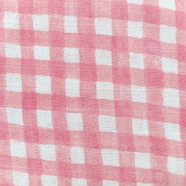 Tissu gaze de coton Mini painted gingham - blossom x 10cm