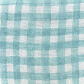Tissu double gaze de coton Mini painted gingham - mist x 10 cm