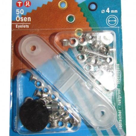 50 eyelets 4 mm + tool - silver