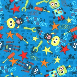 Tissu Bot Boy - blue x 20 cm