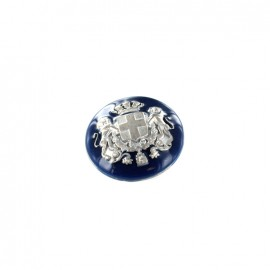 Metal  button Armoiries - silver/navy