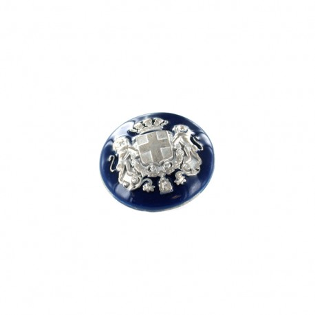 Bouton métal Armoiries - argent/marine