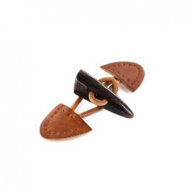 Leather-like brandebourg Buchette aspect corne - light brown