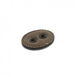 Bouton Cuir 2 trous renfort métal - brun