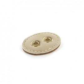 Bouton Cuir 2 trous renfort métal - beige