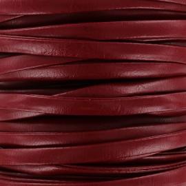 Lacette aspect cuir 5 mm - rouge carmin x 1m