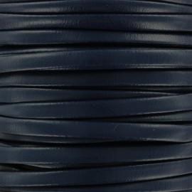 Lacette aspect cuir 5 mm - marine x 1m