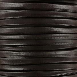 Lacette aspect cuir 5 mm - marron foncé x 1m