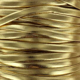 Lacette aspect cuir 5 mm - doré métallisé x 1m