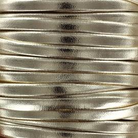 Lacette aspect cuir 5 mm - or clair métallisé x 1m