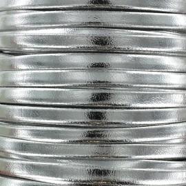 Lacette aspect cuir 5 mm - argenté métallisé x 1m