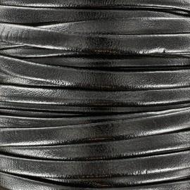 Lacette aspect cuir 5 mm - acier métallisé x 1m