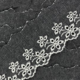 English embroidery denim Blossom - black x 50cm