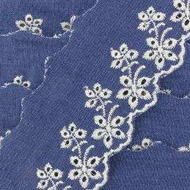 English embroidery denim Blossom - navy x 50cm