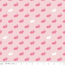 Tissu coton Wonderland rabbit - pink  x 10 cm