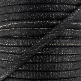 Cordon bicolore irisé 5 mm - Noir/Argent x 1m