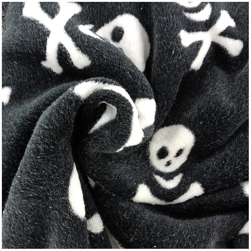 tissu doudou t te de mort gris anthracite x 10cm ma. Black Bedroom Furniture Sets. Home Design Ideas