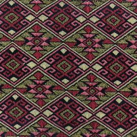 Tissu jacquard stretch Achak - rouge x 10cm