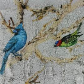 Fourrure imprimée Birds - gris x 30cm