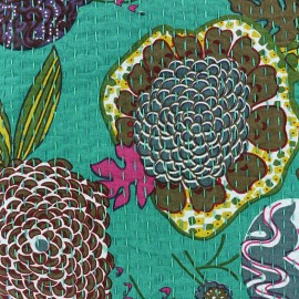 Tissu coton brodé Kantha Ananas - lagon x 10cm