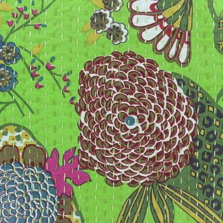 Kantha embroidered cotton fabric Ananas - light green x 10cm