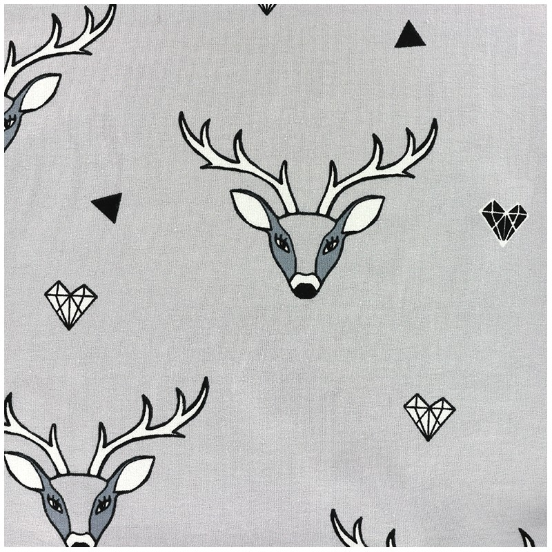 tissu jersey nordik animals cerf x 13 cm ma petite. Black Bedroom Furniture Sets. Home Design Ideas