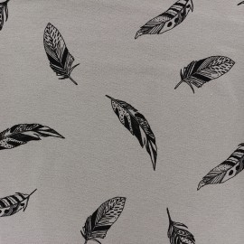 Tissu Jersey Jolie plume - brun x 10 cm
