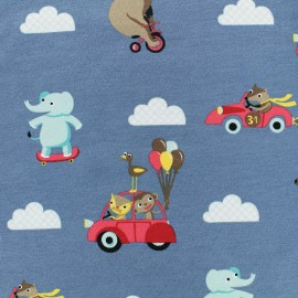 Tissu Jersey Circus - bleu gris x 10 cm