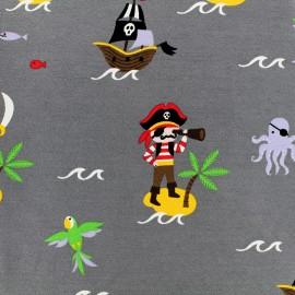 Tissu Jersey Ile au trésor - gris x 10 cm