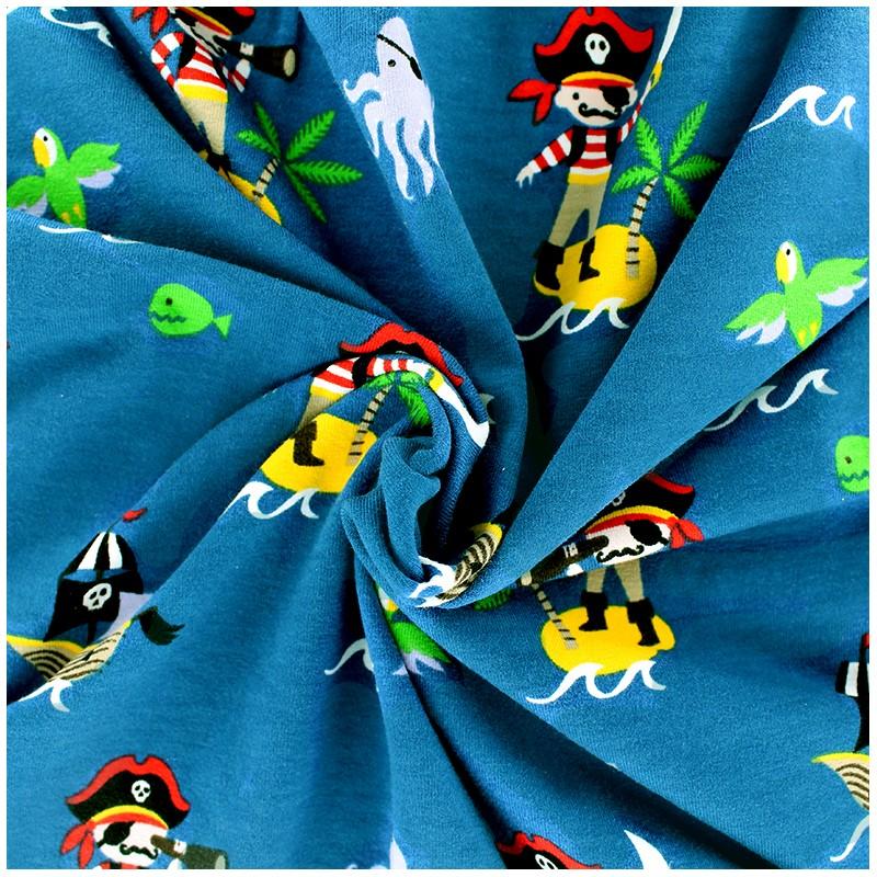 Tissus pas cher tissu jersey ile au tr sor bleu x 28 cm for Au maison fabric