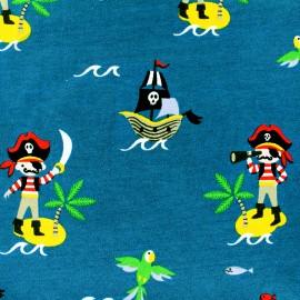 Tissu Jersey Ile au trésor - bleu x 10 cm