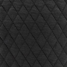 Quilted jersey fabric Diamonds 10/20 - black x 10cm