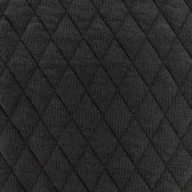 Tissu jersey matelassé losanges 30/50 - noir x 10cm