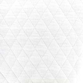♥ Coupon 50 cm X 160 cm ♥ Tissu jersey matelassé losanges 30/50 -  blanc