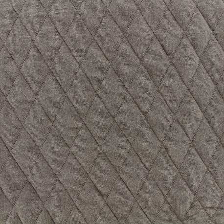 Tissu jersey matelassé losanges 30/50 -  taupe x 10cm
