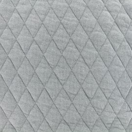Quilted jersey fabric Diamonds 10/20 - grey x 10cm