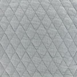 Tissu jersey matelassé losanges 30/50 - gris x 10cm