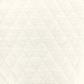 ♥ Coupon 25 cm X 160 cm ♥ Quilted jersey fabric Diamonds 10/20 - ecru