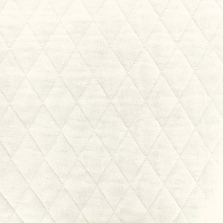 Quilted jersey fabric Diamonds 10/20 - ecru x 10cm