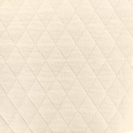 Tissu jersey matelassé losanges 30/50 -  creme x 10cm