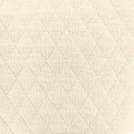 Quilted jersey fabric Diamonds 10/20 - creme x 10cm