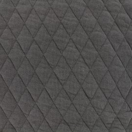 ♥ Coupon 30 cm X 160 cm ♥ Tissu jersey matelassé losanges 30/50 -  anthracite