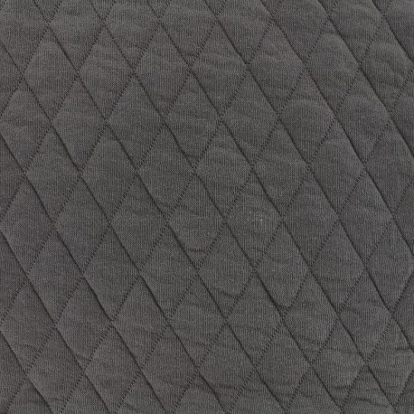 Quilted jersey fabric Diamonds 10/20 - anthracite x 10cm
