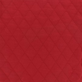 Quilted jersey fabric Diamonds 10/20 - red x 10cm