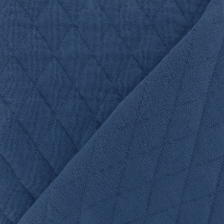 Quilted jersey fabric Diamonds 10/20 - navy x 10cm