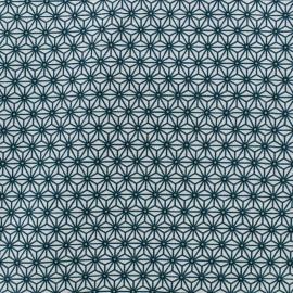 Tissu coton crétonne Saki - blanc/bleu canard x 10cm